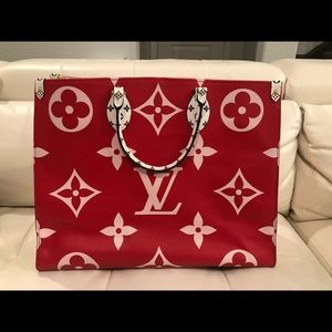 Louis Vuitton Onthego tote in red and pink